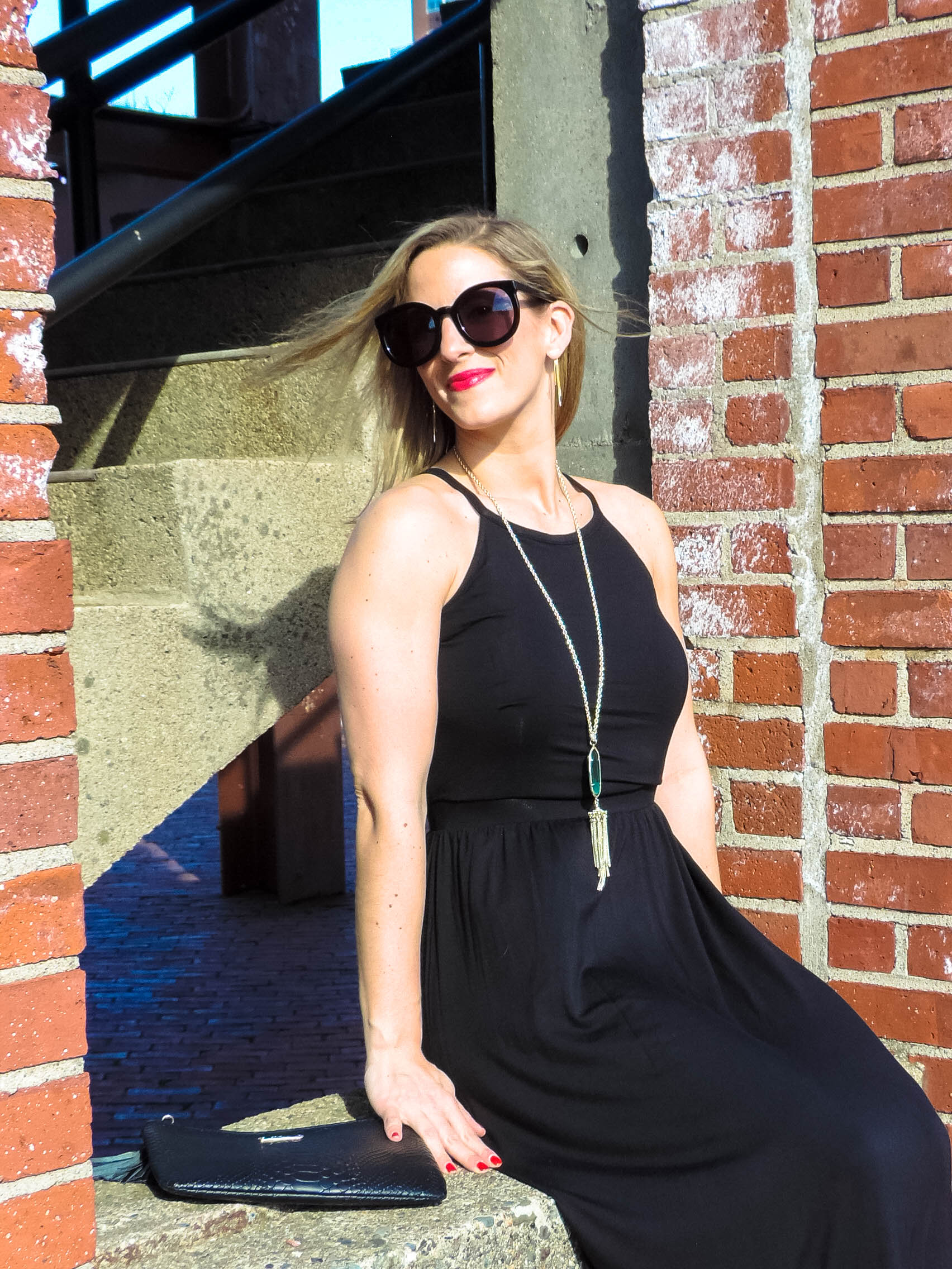 The Perfect Black Maxi-My Favorite Subscription Services- Ditto- Rocksbox- Karen Walker Sunglasses- Old Navy Black Maxi-Boston Chic Party-2