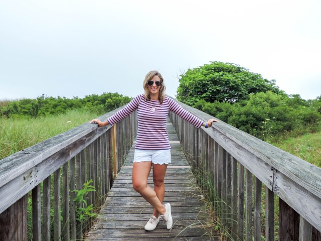 Stripes At The Shore-J.Crew Striped Tee- Scalloped Shorts- Timberland Boat Shoes- Boston Chic Party-1