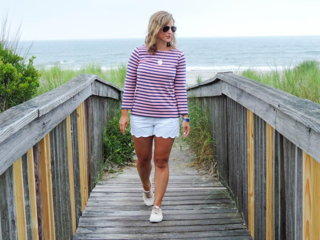 Stripes At The Shore-J.Crew Striped Tee- Scalloped Shorts- Timberland Boat Shoes- Boston Chic Party-2