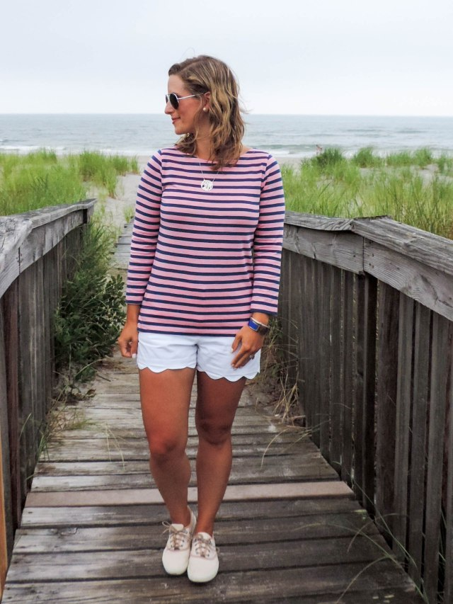 Stripes At The Shore-J.Crew Striped Tee- Scalloped Shorts- Timberland Boat Shoes- Boston Chic Party-5