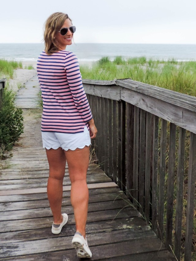 Stripes At The Shore-J.Crew Striped Tee- Scalloped Shorts- Timberland Boat Shoes- Boston Chic Party-8