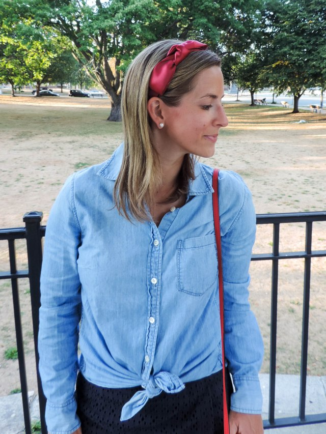 Red, Blue and Bows- Bow Headband- Navy Skort- Summer Fashion- Boston Chic Party-6
