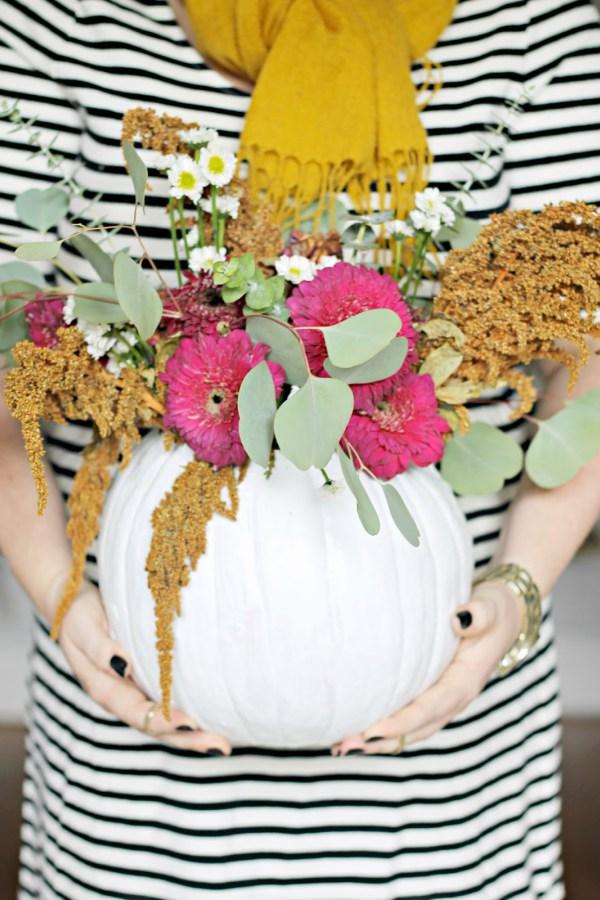 pumpkin-vase-and-floral-arranging-party-via-burlap-and-lace